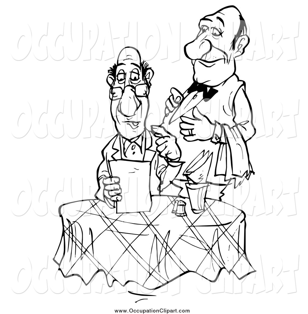 Clip Art Of A Black And White Waiter Standing Behind A Food Critic As