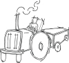 Farmer On Tractor Pulling Wagon For Address Labels Or Rubber Stamps
