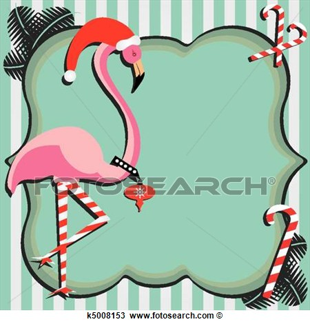 Flamingo Christmas Card View Large Clip Art Graphic