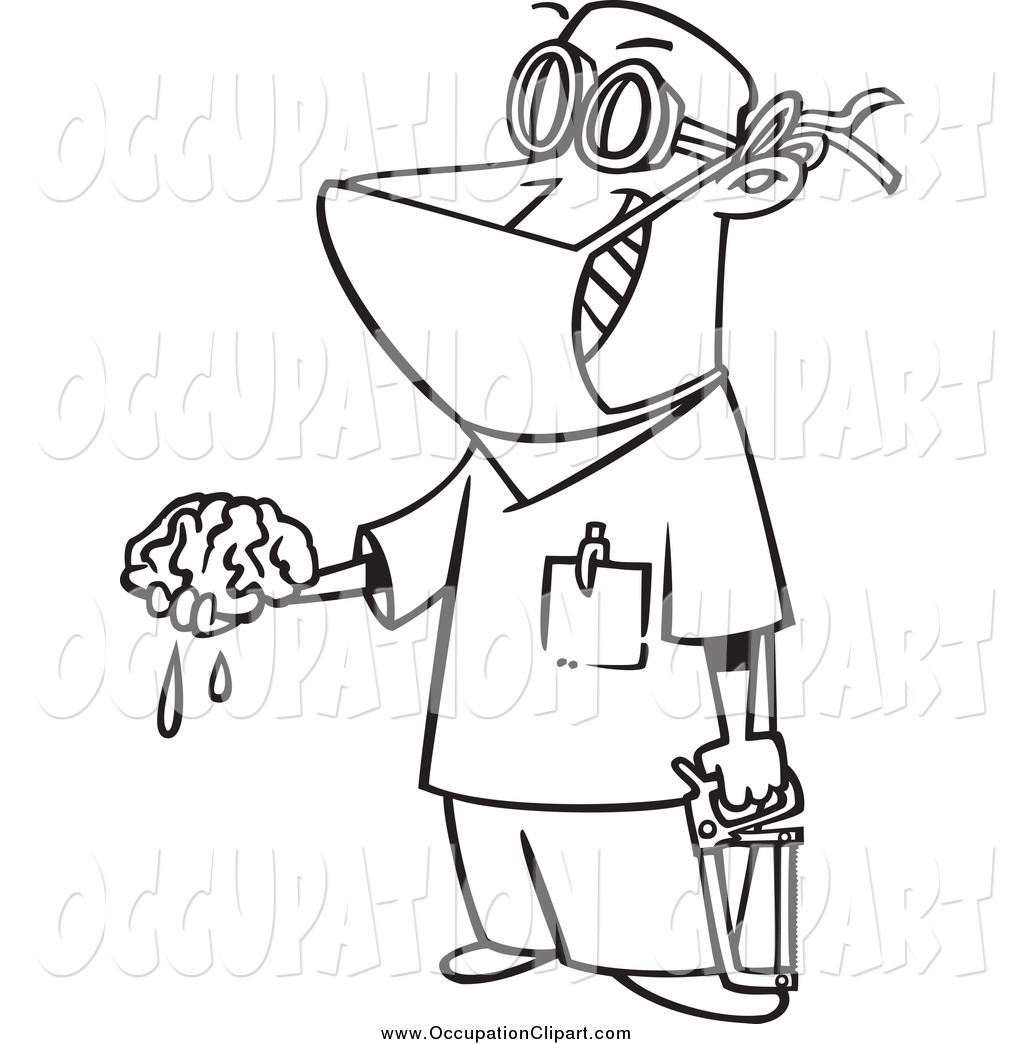 Larger Preview  Clip Art Of A Black And White Male Surgeon Holding A