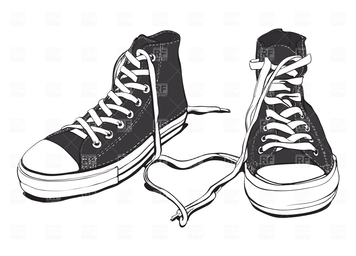 Clip Art Black And White Sneakers Clipart - Clipart Kid