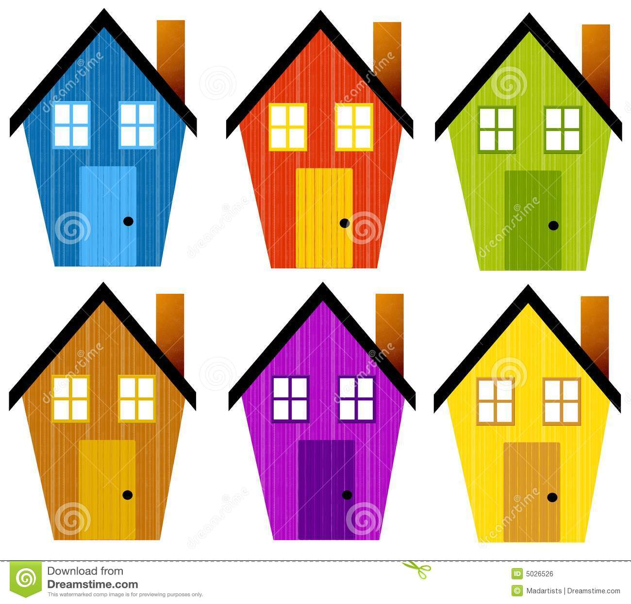 Artsy Rustic Clip Art Houses Royalty Free Stock Image   Image  5026526