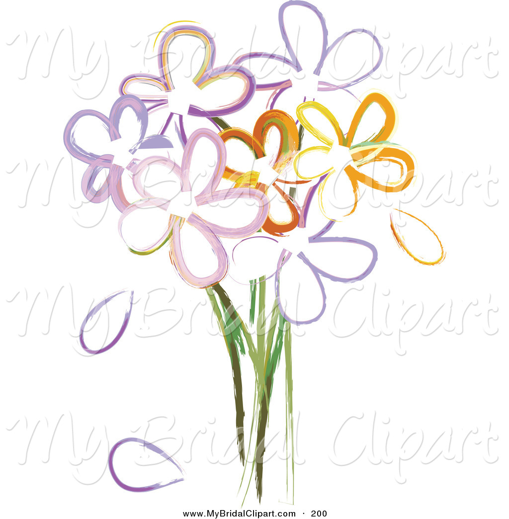 Bridal Clipart Of A Bouquet Of Painted Flowers On White By Pams