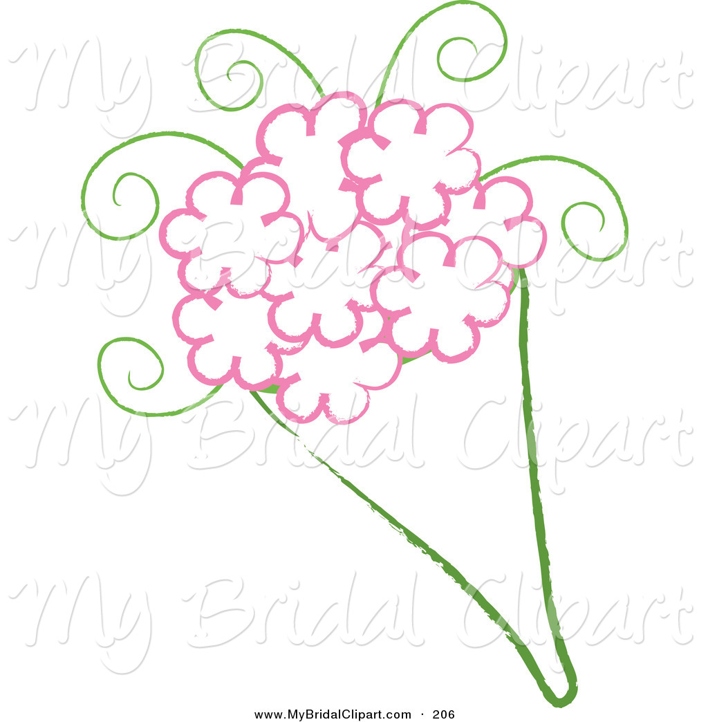 Bridal Clipart Of A Drawing Of A Wedding Bouquet With Pink Flowers On