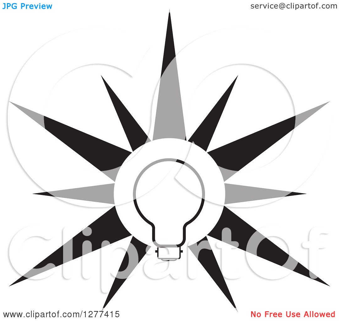 Clipart Of A Black And White Light Bulb Burst   Royalty Free Vector