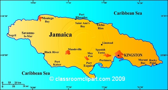 Country Maps   Jamaica Map 35ra   Classroom Clipart