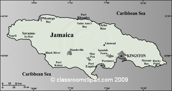 Gray Scale Maps   Jamaica Map 35gr   Classroom Clipart