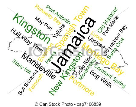 Jamaica Map And Words Cloud With Larger Cities