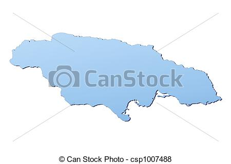Jamaica Map Filled With Light Blue Gradient  High Resolution  Mercator