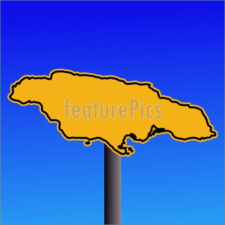 Jamaica Map Warning Sign Illustration  Stock Vector At Featurepics Com