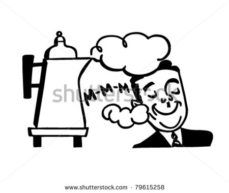 Man Smelling Fresh Coffee   Retro Clipart Illustration   Stock Vector