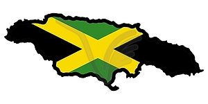 Map In Colors Of Jamaica   Vector Clipart