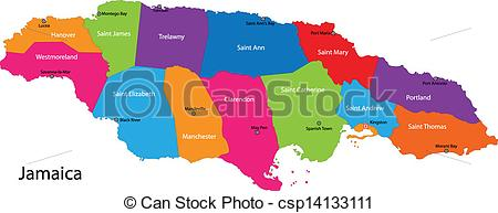 Map Of Jamaica With The Parishes Colored In Bright Colors And The