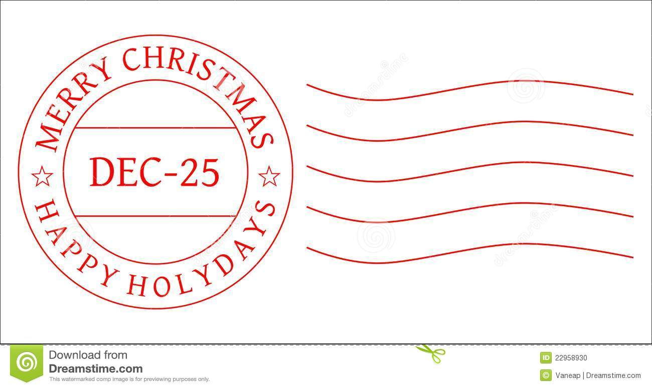 Red Christmas Postage Stamp To Be Used By Designers  Vector  Eps