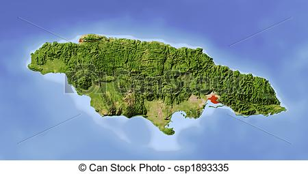 Relief Map   Jamaica Shaded Relief Map    Csp1893335   Search Clipart