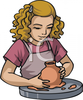 Royalty Free Clip Art Image  Little Girl Learning To Make Pottery At