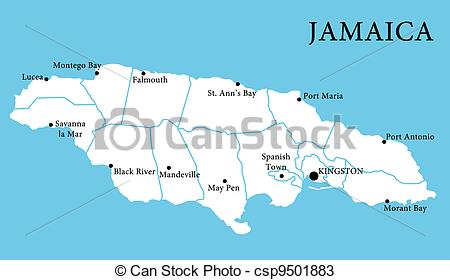 Stock Illustration   Map Of Jamaica   Stock Illustration Royalty Free