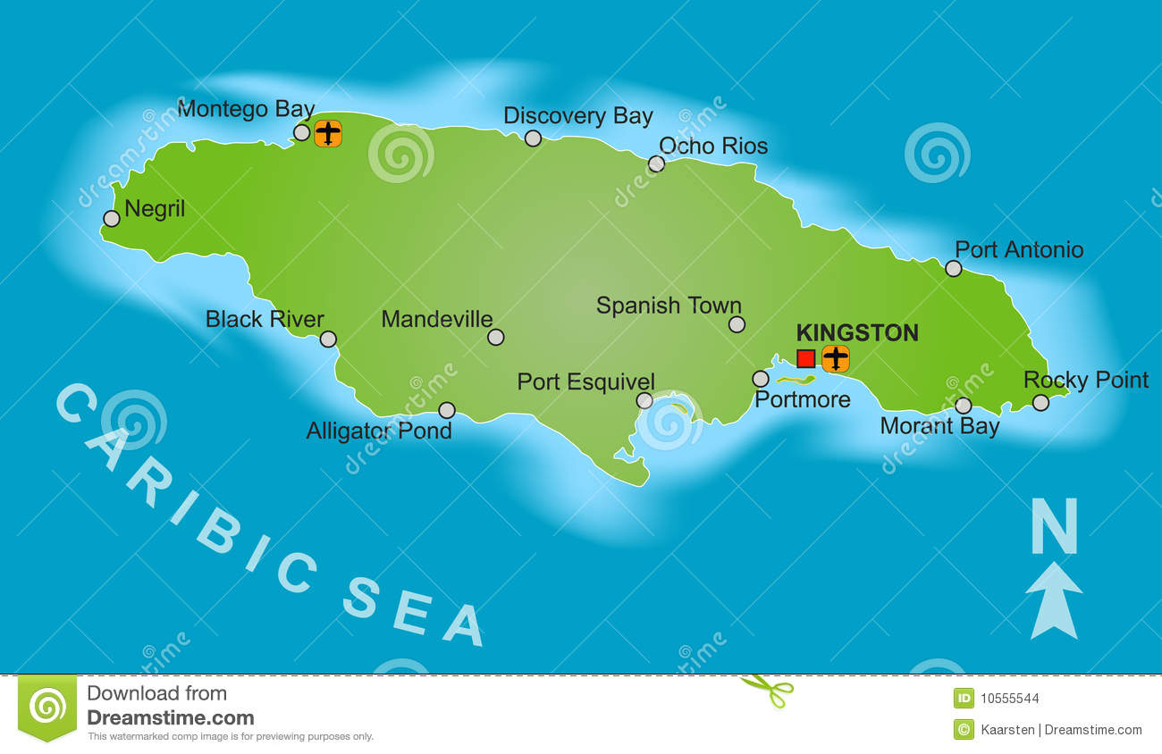 Stylized Map Of Jamaica Showing Different Big Cities