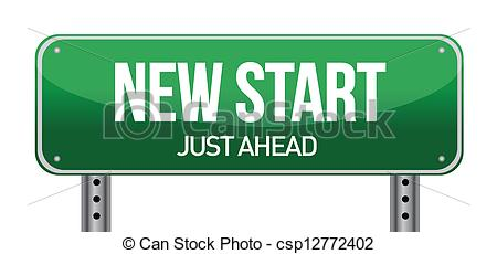 Vector Clipart Of New Start Street Sign Illustration Design Over A