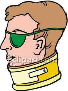 Wearing A Neck Brace And An Eye Patch   Royalty Free Clipart Picture