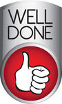 Well Done Button   Silver And Red Well Done Button Isolated