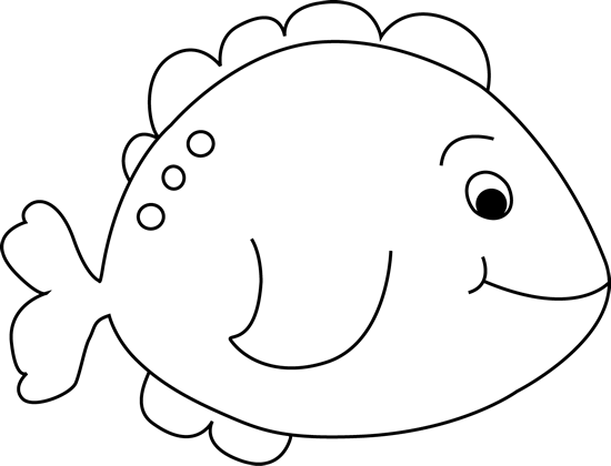 Black And White Little Fish Clip Art Image   Black And White Outline