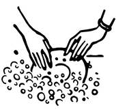 Black And White Version Of Washing The Dishes   Clipart Graphic