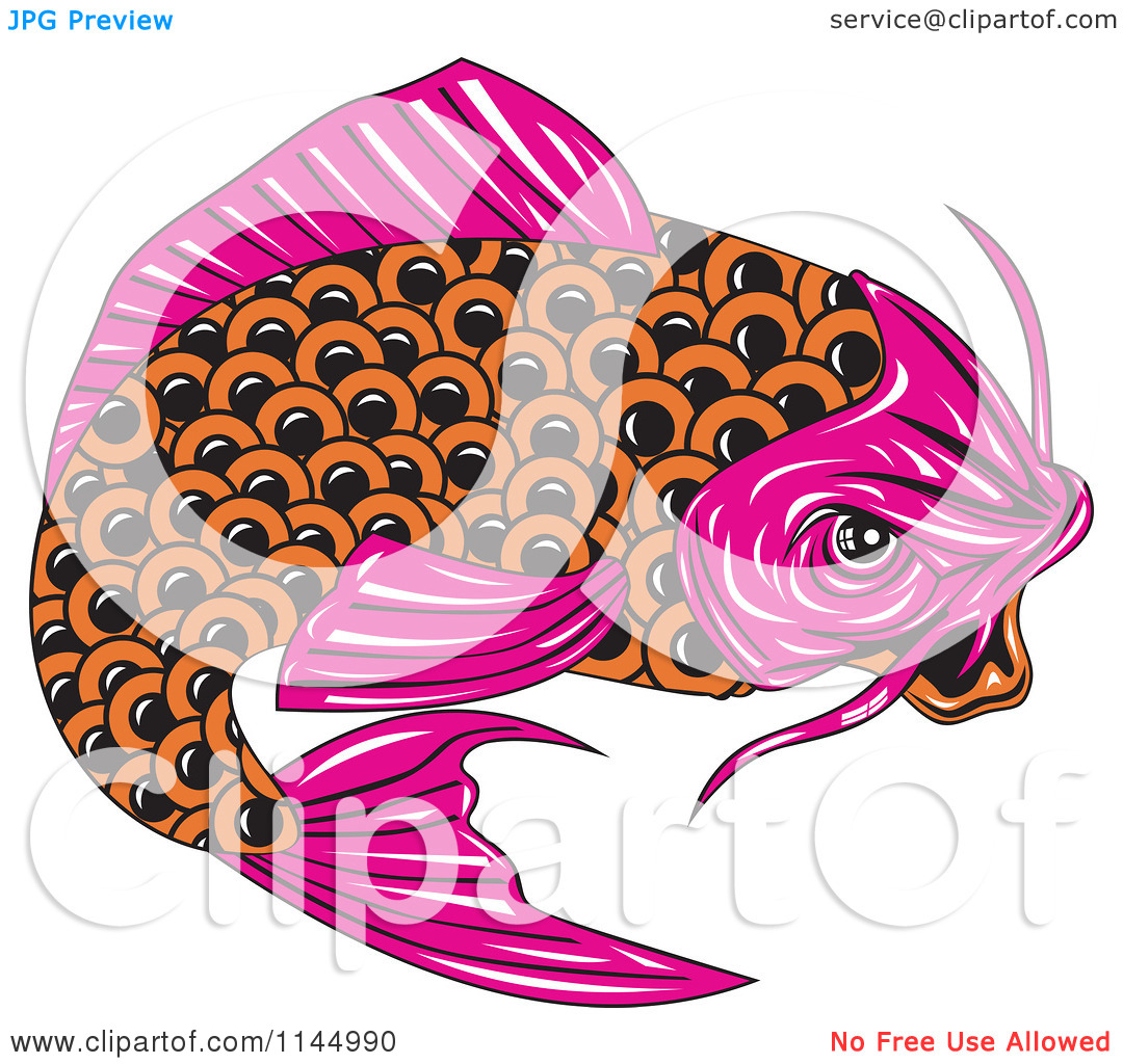 Clipart Of A Retro Pink And Orange Koi Fish   Royalty Free Vector