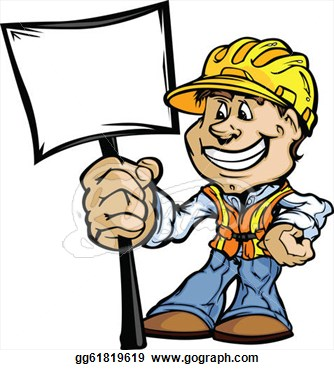 Contractor Clipart Happy Construction Contractor With Sign Cartoon