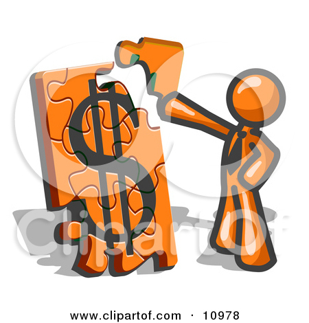 Dollar Sign Puzzle Together Clipart Illustration By Leo Blanchette