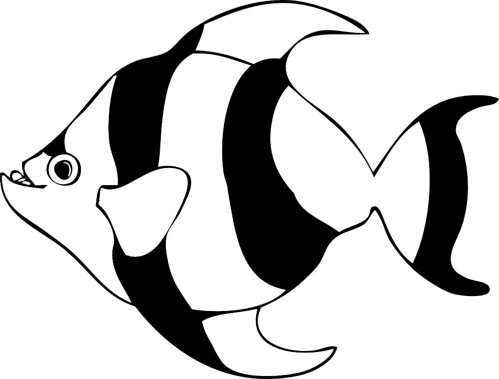 Fish Clipart Black And White Striped Tropical Fish Black White Line
