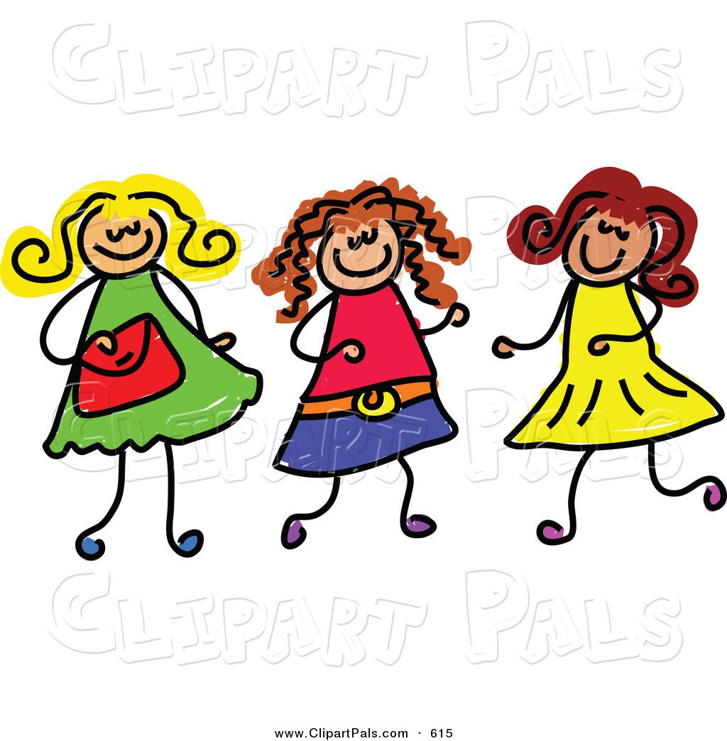 Friends Playing Together Clipart Pal Clipart Of A Childs Sketch