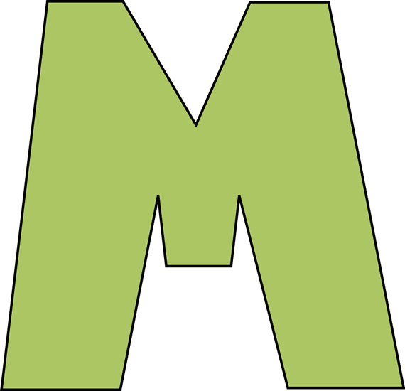 Green Letter M Clip Art Image   Large Green Capital Letter M