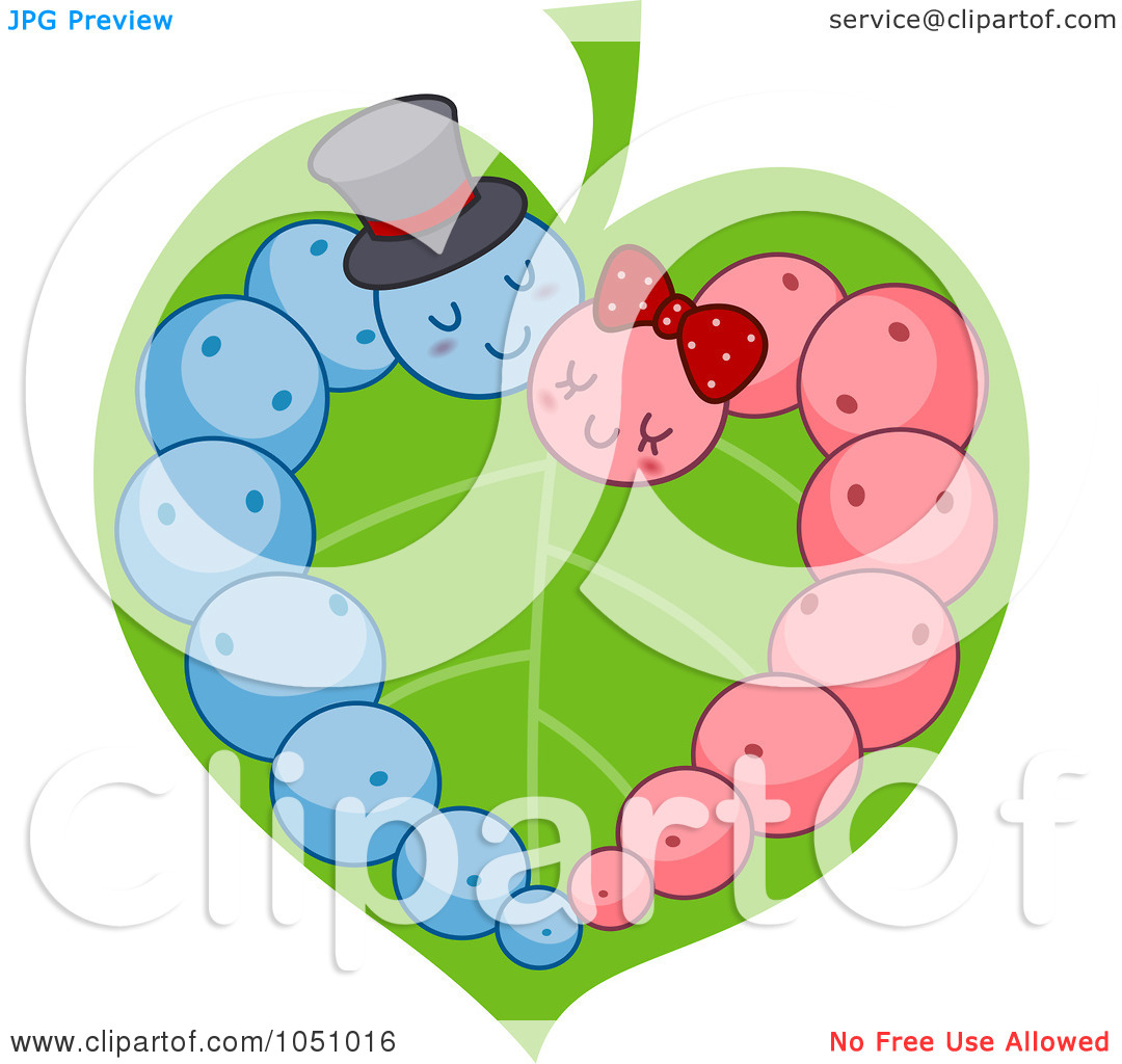 Illustration Of Pink And Blue Caterpillars Forming A Heart On A Leaf