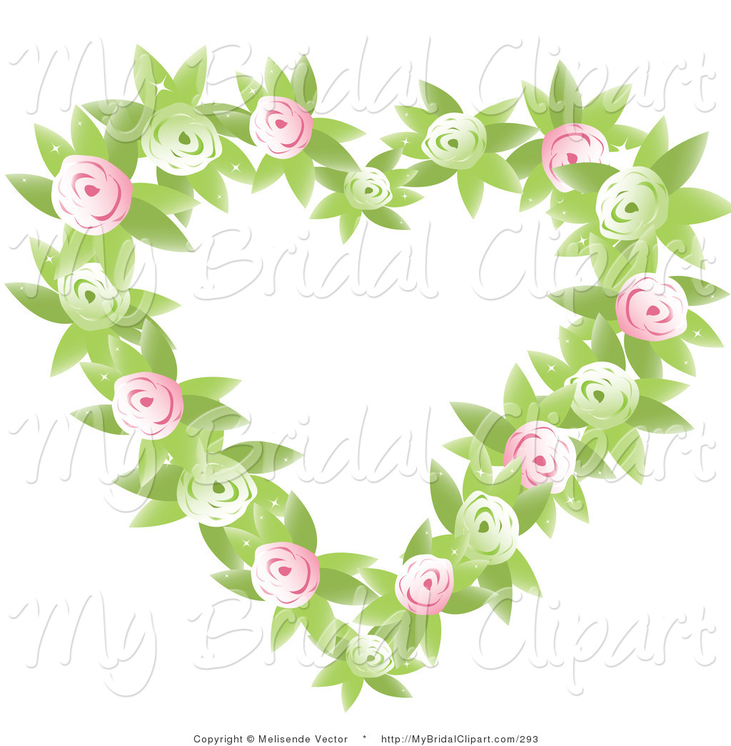 Larger Preview  Bridal Clipart Of A Green And Pink Rosebud And Leaf