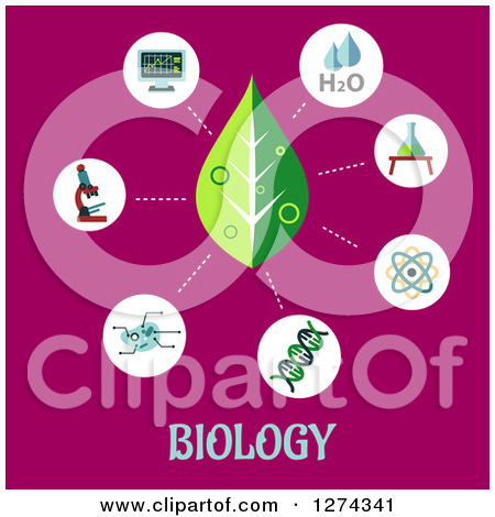 Leaf And Science Icons On Pink Over Biology Text By Seamartini