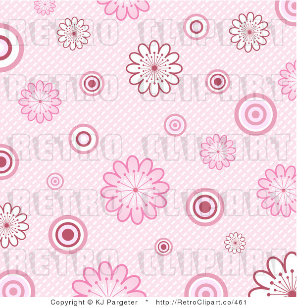 Pink Floral Background Retro Royalty Free Clipart By Kj Pargeter