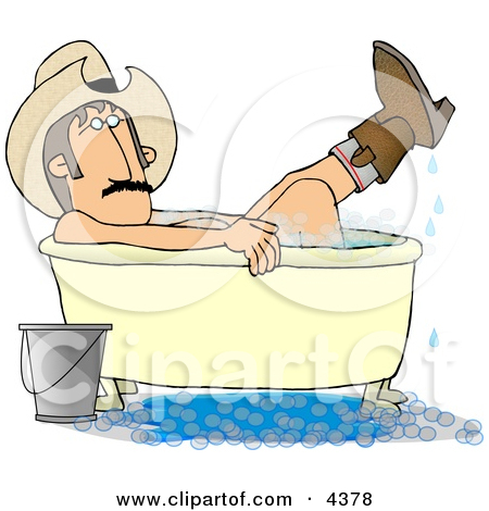 Redneck Cowboy Bathing With Hat And Boots On Clipart By Dennis Cox