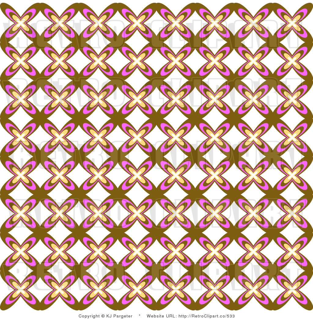 Retro Background Of A Brown White And Pink Floral Pattern Royalty Free