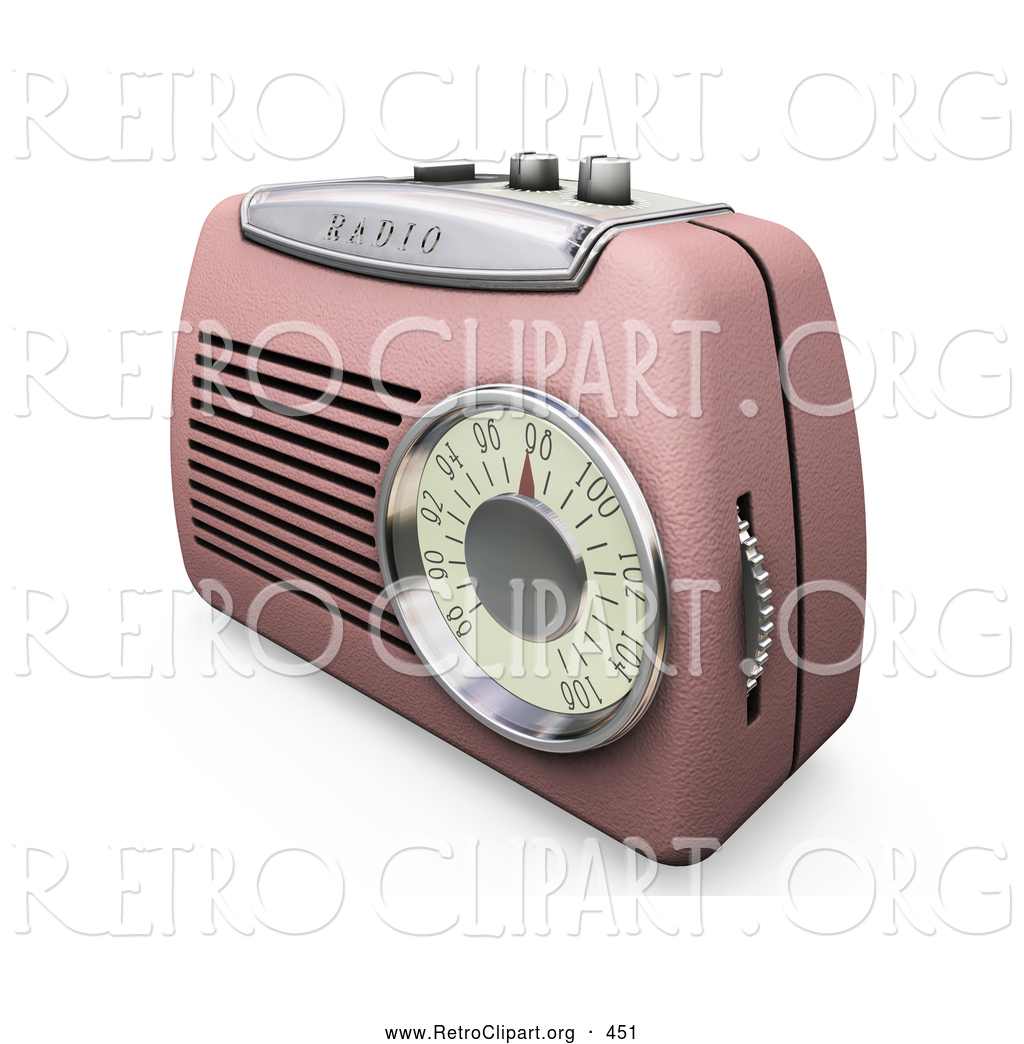 Retro Clipart Of A Old Fashioned Retro Pink Radio With A Station Dial