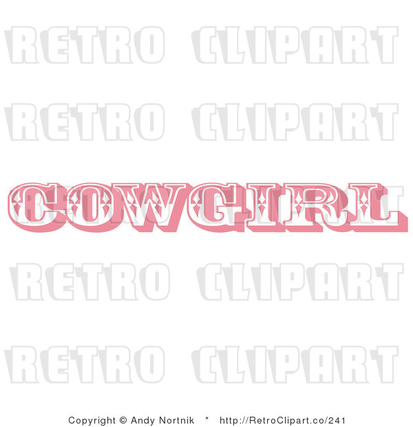 Retro Royalty Free Pink Cowgirl Sign Vector Clipart By Andy Nortnik