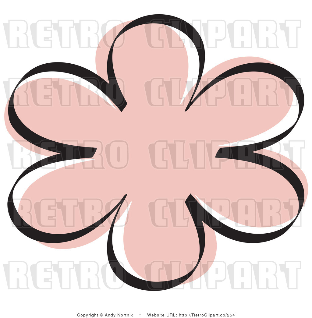 Retro Royalty Free Pink Flower Vector Clipart By Andy Nortnik    254