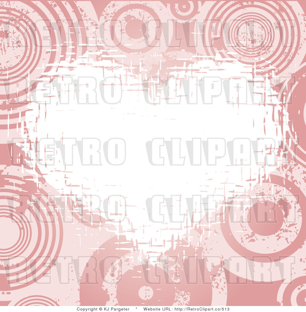 Retro White Grunge Heart Over Pink Circles Royalty Free Clipart