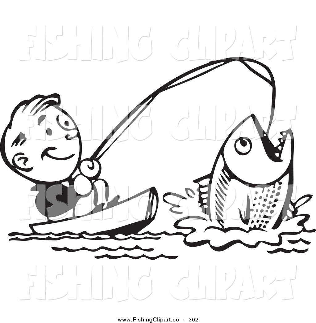 Royalty Free Black And White Retro Stock Fishing Clipart Illustrations