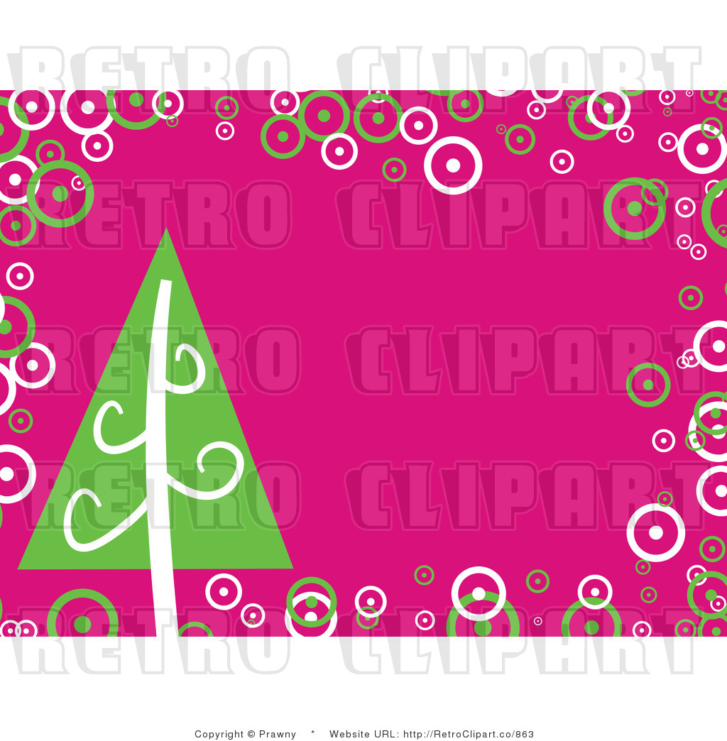 Royalty Free Retro Pink Background With A Green Christmas Tree And