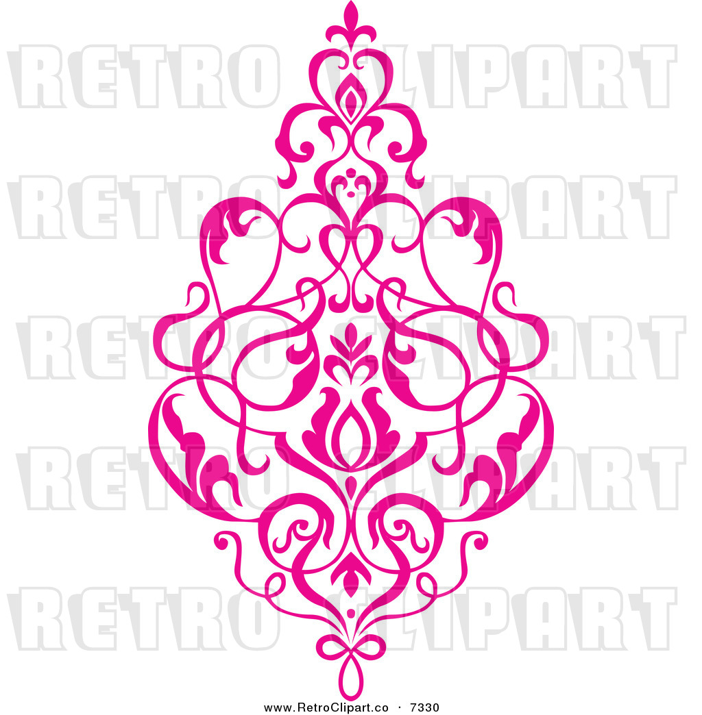 Vector Clipart Of A Retro Pink Victorian Floral Damask Design Element