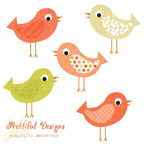 Bird Clip Art Pink And Green Pattern Bird Clipart Instant Download