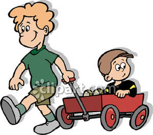 Brother Clipart Boy Pulling His Little Brother In A Wagon Royalty Free