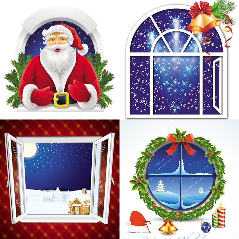 Christmas Frame With Santa In Window Clipart 82857223   Auto Design