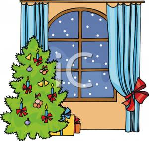 Christmas Tree By A Snowy Window   Royalty Free Clipart Picture